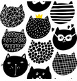 decorative seamless pattern with cute funny cats vector image