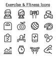 exercise fitness icon set in thin line style vector image vector image