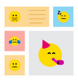 flat icon expression set of hush displeased cold vector image