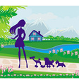 girl walking the dogs vector image vector image