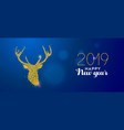 happy new year 2019 gold glitter reindeer card vector image vector image