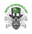 happy saint patrick day irish leprechaun skull vector image