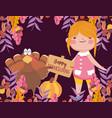 happy thanksgiving day cute girl turkey pumpkin vector image vector image