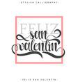 Happy valentines day Phrase Spanish handmade Feliz vector image vector image