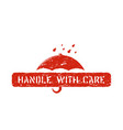 inky red handle with care box sign isolated for vector image vector image