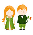 irish girl and boy in national costume irish vector image