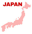 japan map - mosaic of lovely hearts vector image vector image