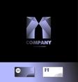 Letter M 3d blue metal logo vector image vector image