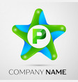 letter p logo symbol in the colorful star on grey vector image vector image