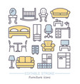 line furniture icons set with vector image vector image