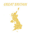 map of great britain in golden with gold yellow vector image