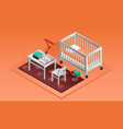 orange room kid bed banner isometric style vector image vector image