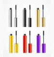 realistic color mascara brush set vector image vector image