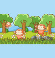 scene with three monkeys in forest vector image