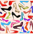 seamless background of fashionable womens shoes vector image vector image