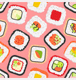 seamless pattern of cute colored sushi rolls vector image vector image