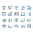 seo line icons set of increase sales business vector image vector image