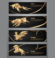 set of gold animal banners vector image