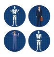set of humanoid robot ans businessman vector image