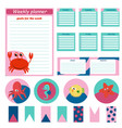 set weekly and daily planner page with animals vector image vector image