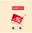 shopping box in cart background image vector image