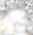 silver christmas tree branches and berries vector image vector image