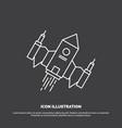 spacecraft spaceship ship space alien icon line vector image