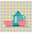 Teapot and Cup on a napkin vector image vector image