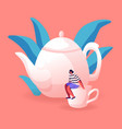 tiny woman sitting on huge white porcelain cup vector image