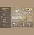 vintage cocktail menu design on cardboard vector image