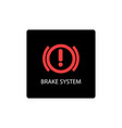 warning dashboard car icon brake system vector image vector image