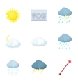 Weather forecast icons set cartoon style vector image