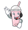 with headphone raspberry bubble tea character vector image vector image