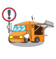 with sign rendering cartoon of food truck shape vector image