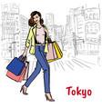 woman in tokyo vector image