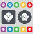 Monkey icon sign A set of 12 colored buttons Flat vector image