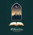 ramadan kareem open book koran and moon vector image