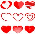 Set of nine heart icons vector image