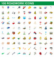 100 roadwork icons set cartoon style vector image