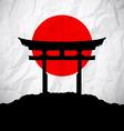Japan flag as sunrise with japan gate vector image