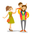 young caucasian white family strolling vector image