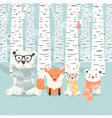 Merry Christmas postcard with bears fox rabbit vector image