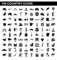 100 country icons set simple style vector image