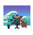 a businessman in office dreams sea vector image vector image