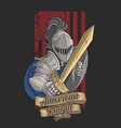 american knight with a golden sword vector image vector image