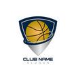 basketball ball shield vector image