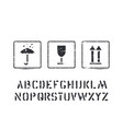 box sign rubber stamps and cargo alphabet vector image vector image