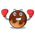 boxing chocolate donut character cartoon vector image