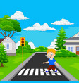cartoon boy walking across the crosswalk vector image vector image