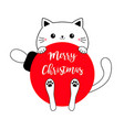 cat holding big red merry christmas ball cute vector image vector image